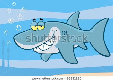 Happy Shark Cartoon Character Under The Sea. Raster Illustration From Vector by HitToon.Com, via Shutterstock