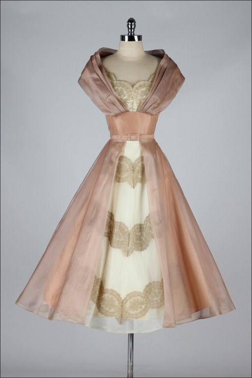 Vintage 1950 S Organza And Lace Cocktail Dress Image 8