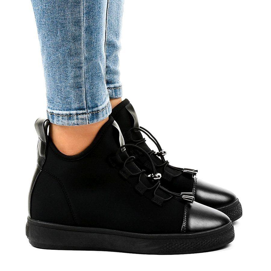 Czarne Ocieplane Trampki Wysokie Na Koturnie Xy 35 Womens Oxfords Oxford Shoes Shoes