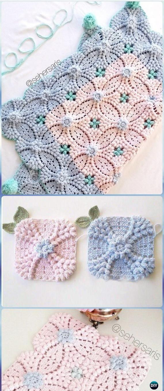 Crochet Pearl Flower Popcorn Square Motif Free Patterns [Video] | So ...