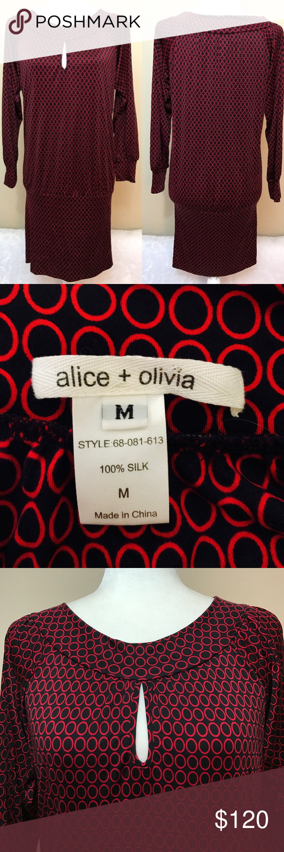 Alice + Olivia 100% silk 70s inspired dress Great condition Alice + Olivia Dresses
