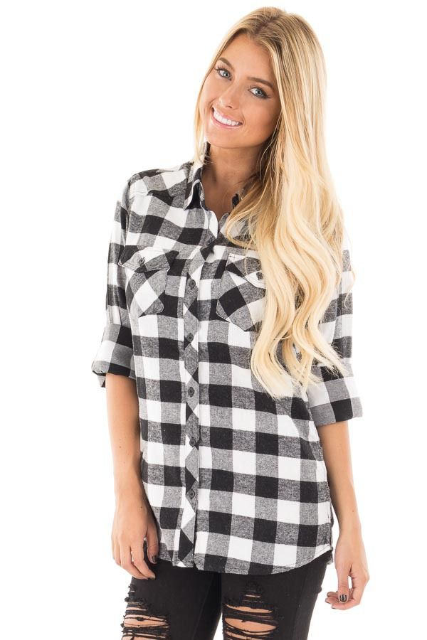 2031f5a5455 Lime Lush Boutique - Black and Ivory Plaid Flannel Shirt