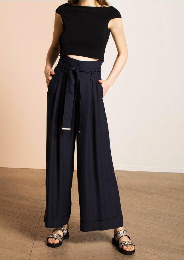 pantalon large fluide en cr pe bleu marine femme tara jarmon 3 c pantalon large bleu. Black Bedroom Furniture Sets. Home Design Ideas