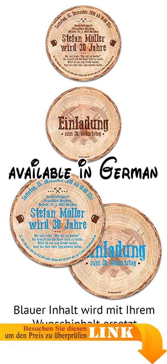 Einladungskarten Format #19: 60 X Runde Einladungskarten Geburtstag Durchmesser 148 Mm Baumscheibe  Holzscheibe Rustikal Einladung. Format: Kreis