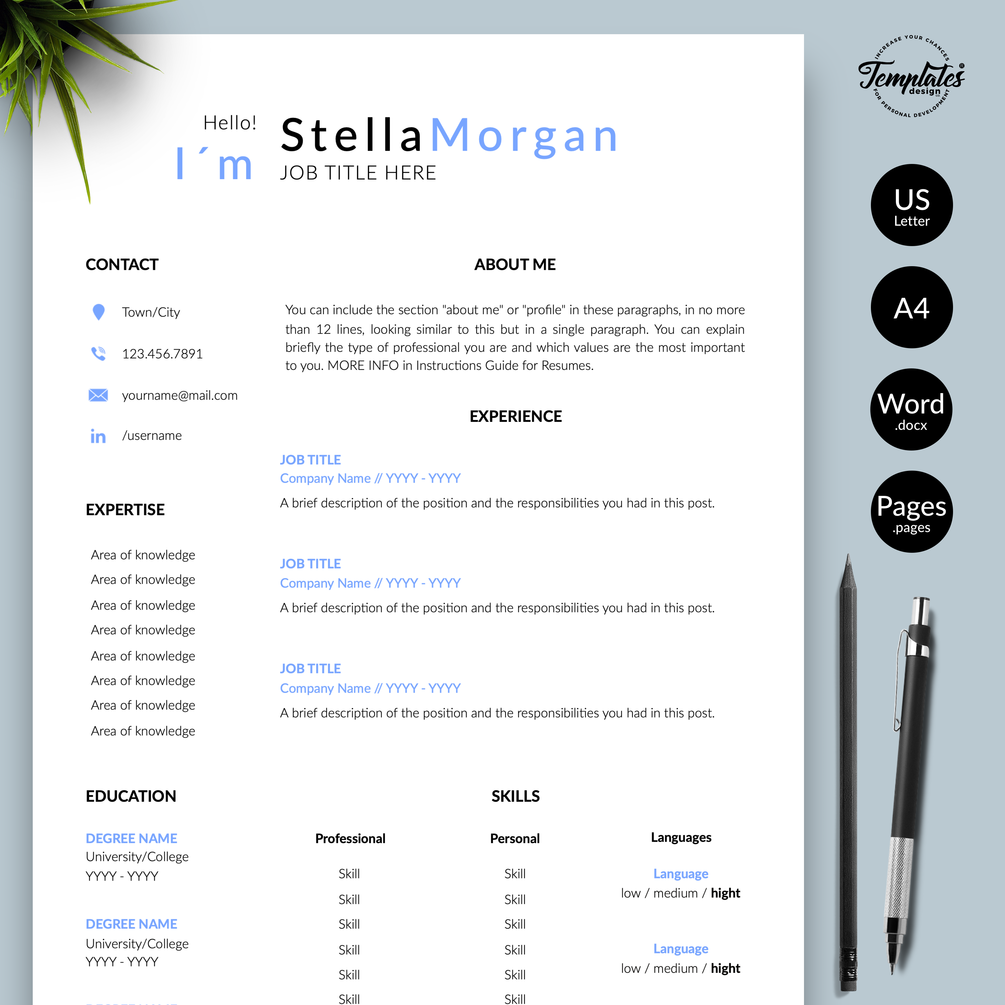 """Stella Simple and Basic Resume CV Template for"