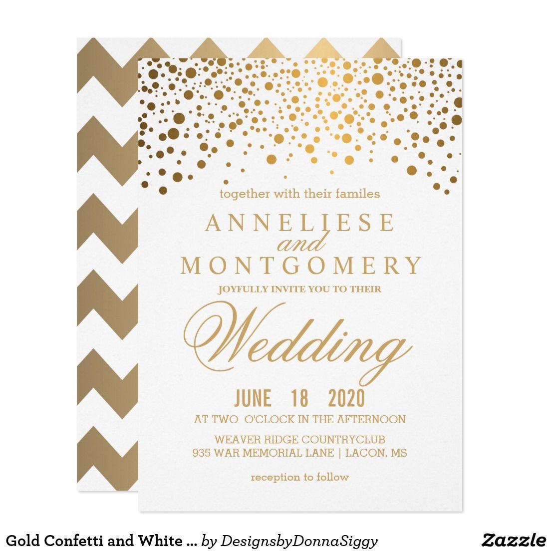 Gold Confetti and White Wedding Invitation Stylish Gold Confetti ...