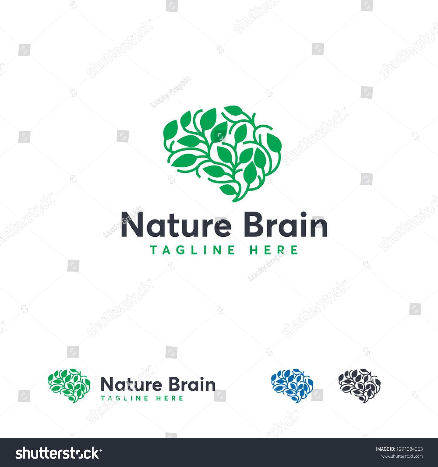 Health Brain logo designs concept vector, Nature Mind logo