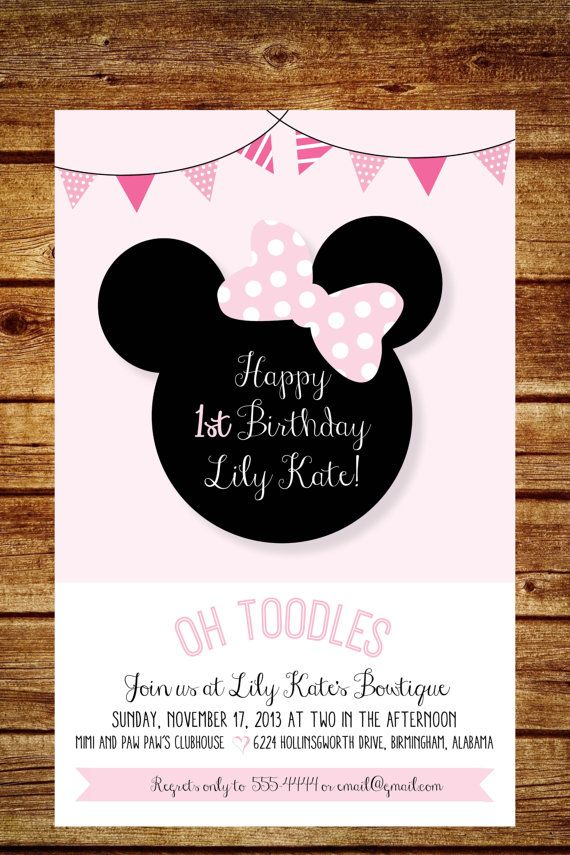 Pink and White Minnie Mouse Birthday Party Invitation, Shabby Chic ...