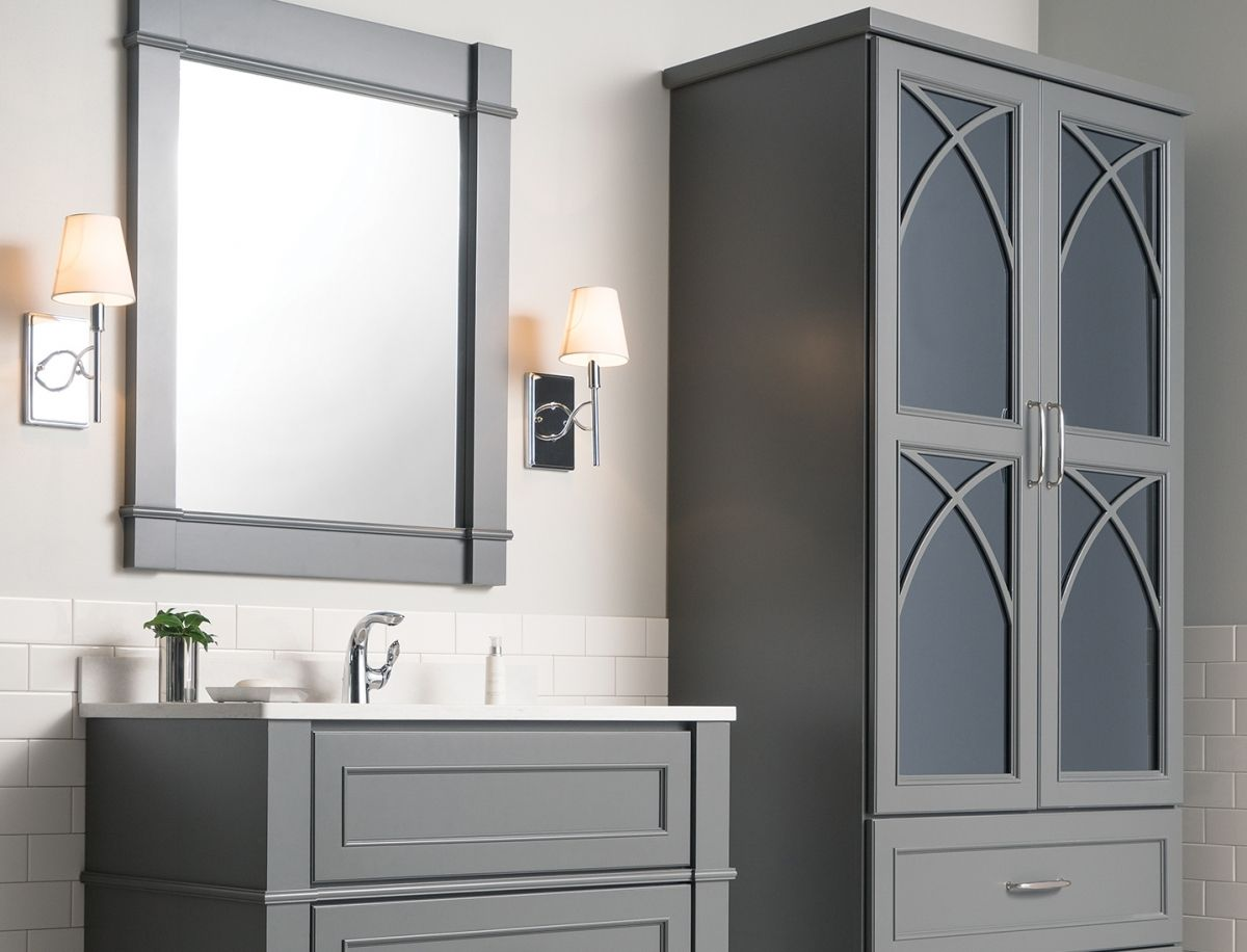 Trend Study Combining Mirrors And Cabin Mirrored Cabinet Doors Cabinetry Grey Bathroom Furniture [ 916 x 1200 Pixel ]