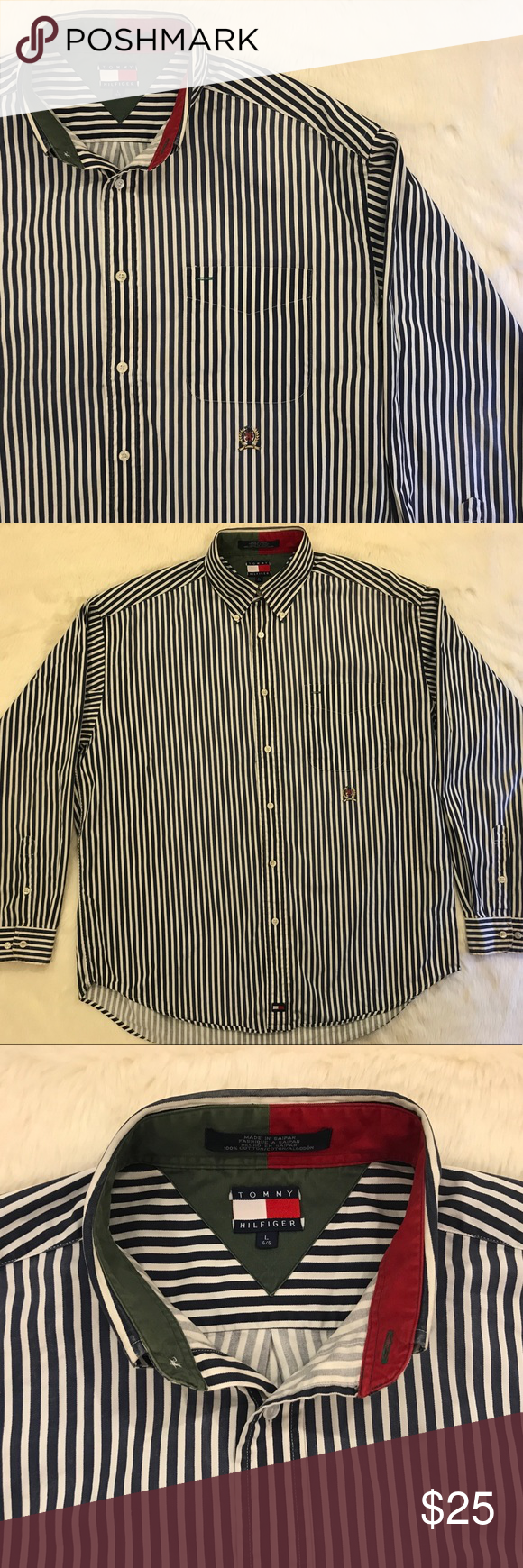 ea8ff2611 Vintage TOMMY HILFIGER Striped Button Down Shirt Vintage Tommy Hilfiger  button down shirt. Embroidered logos