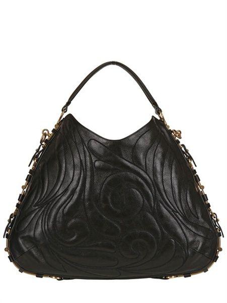 ecbf47a2554 FERRAGAMO Black Large Fergie Embroidered Leather Bag - Lyst
