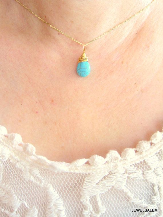 Turquoise necklace gold blue stone tear drop gemstone pendant small turquoise necklace gold blue stone tear drop gemstone pendant small modern casual simple every day wire aloadofball Image collections