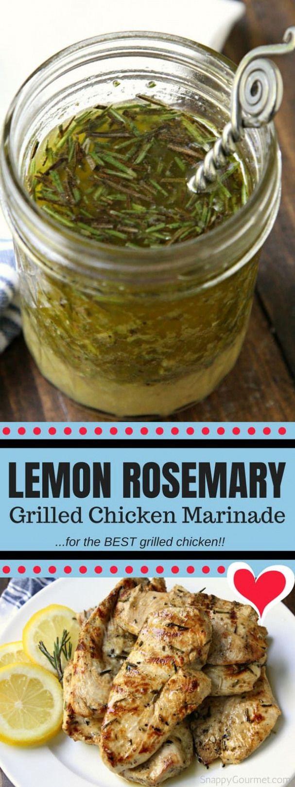 Lemon Rosemary Grilled Chicken Marinade - easy homemade marinade for the BEST grilled chicken! via