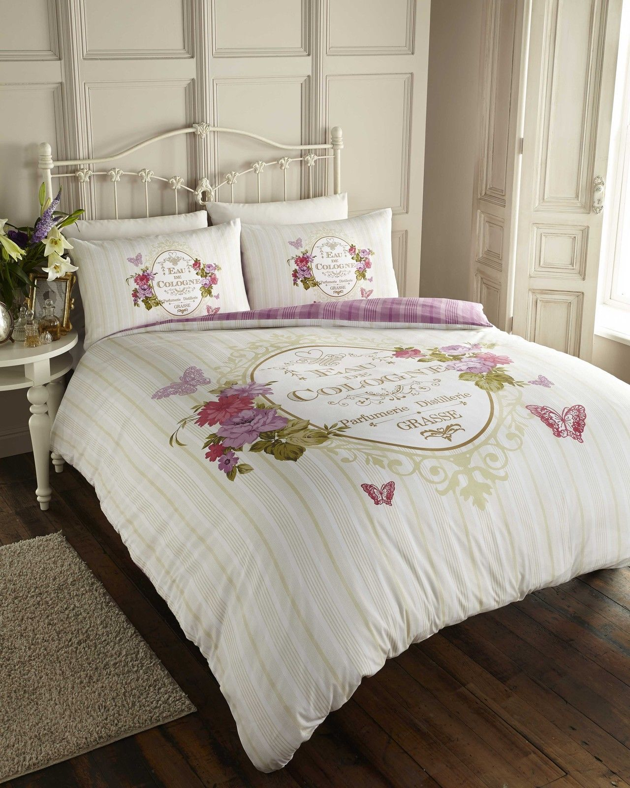 SCRIPT BUTTERFLY PARIS CHIC QUILT DUVET COVER BEDDING SET SINGLE DOUBLE KING