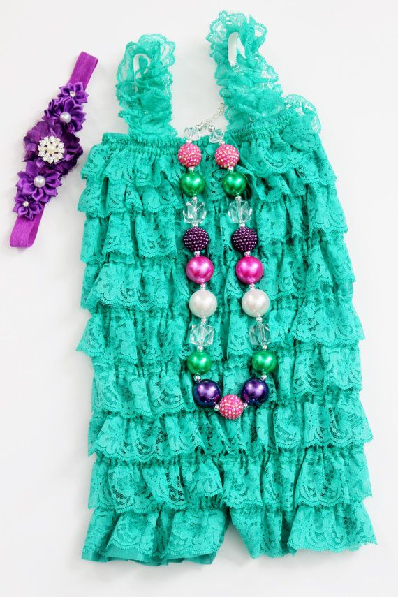 Girl Photo Prop Lace Petti Romper Set with Chunky Bead Necklace and Headband for Birthday Green and Purple