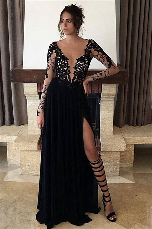 Illusion Bodice Long Black Jersy Prom Dress with | Prom Dresses ...