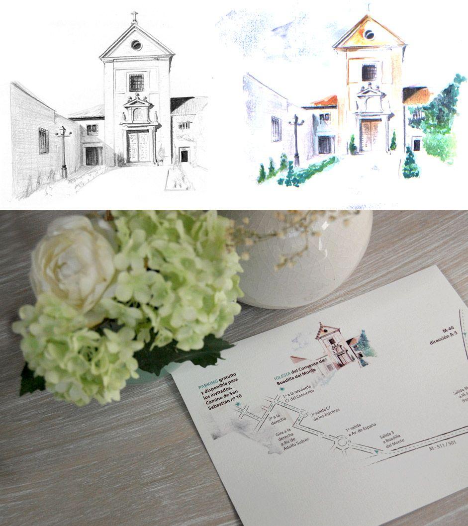 Unas invitaciones de boda con un mapa muy especial | pinturas ...