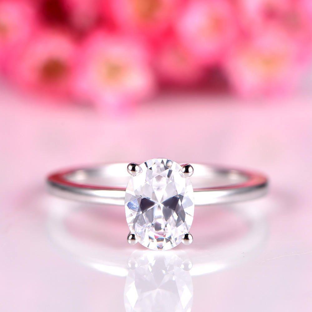 Moissanite engagement ring 1.5ct oval moissanite ring with plain ...