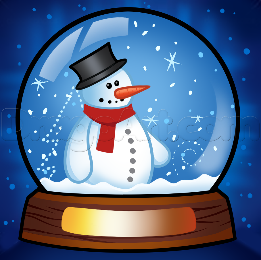 how to draw a snow globe Snow globes, Christmas scene