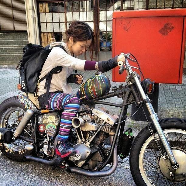 Chopper Girl, Japan | Motorcycle girl, Motorcycle, Bobber motorcycle