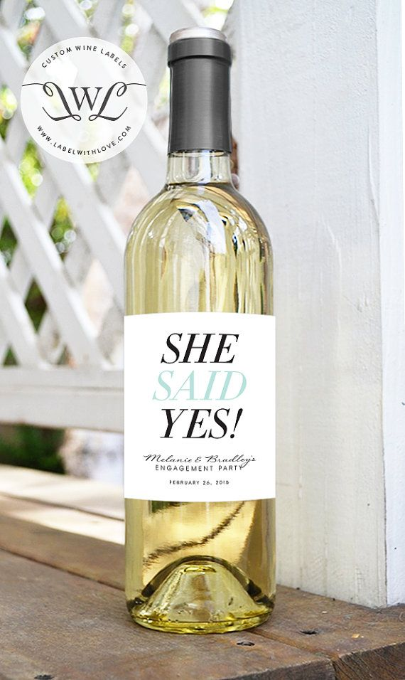 6 Bridesmaid Thank You Wine Labels Set