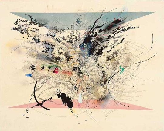 Julie Mehretu Enclosed Resurgence 2001 ink & acrylic on canvas 48 x 60 inches