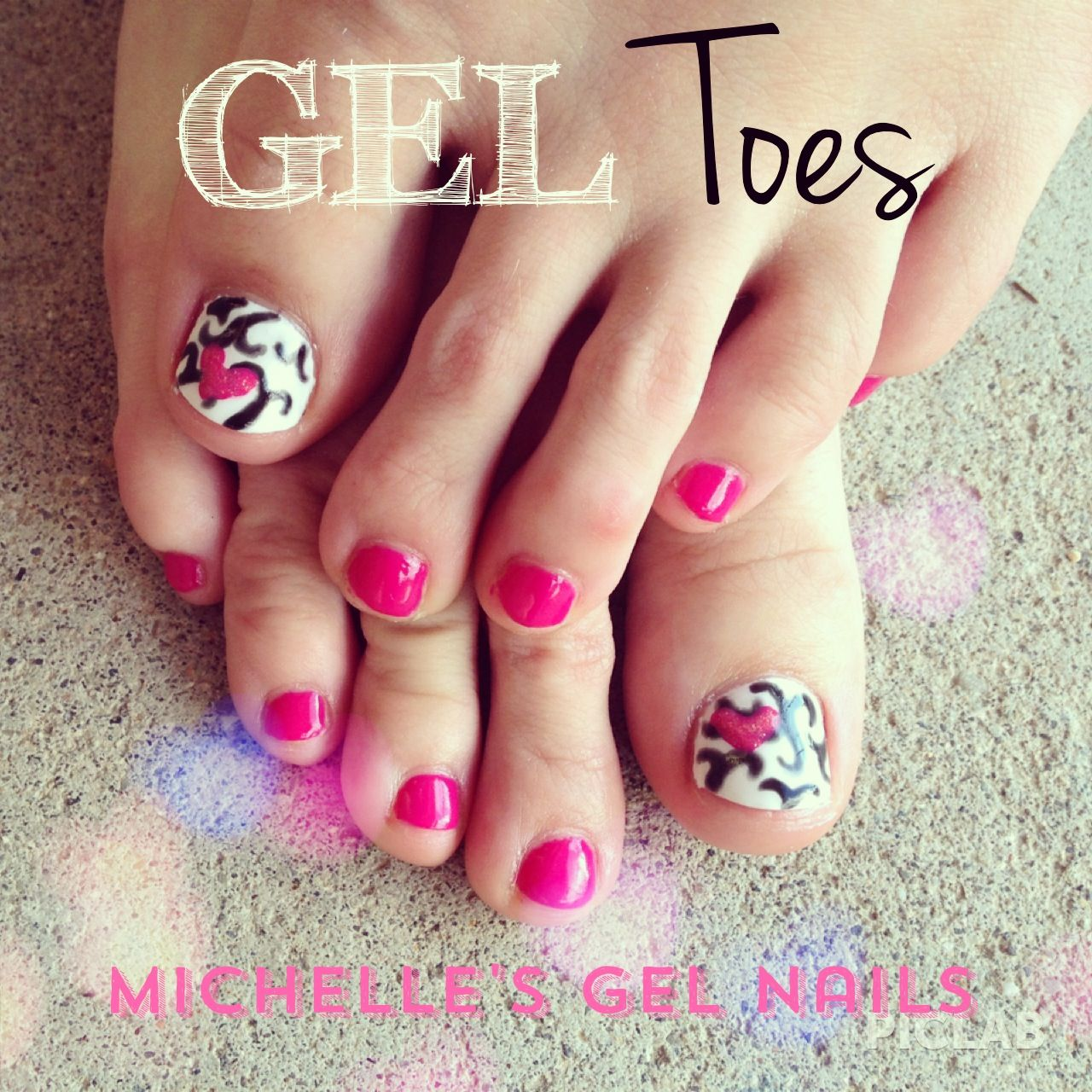 Gel toes, cute pink toes, nail art, Michelle\u0027s gel nails