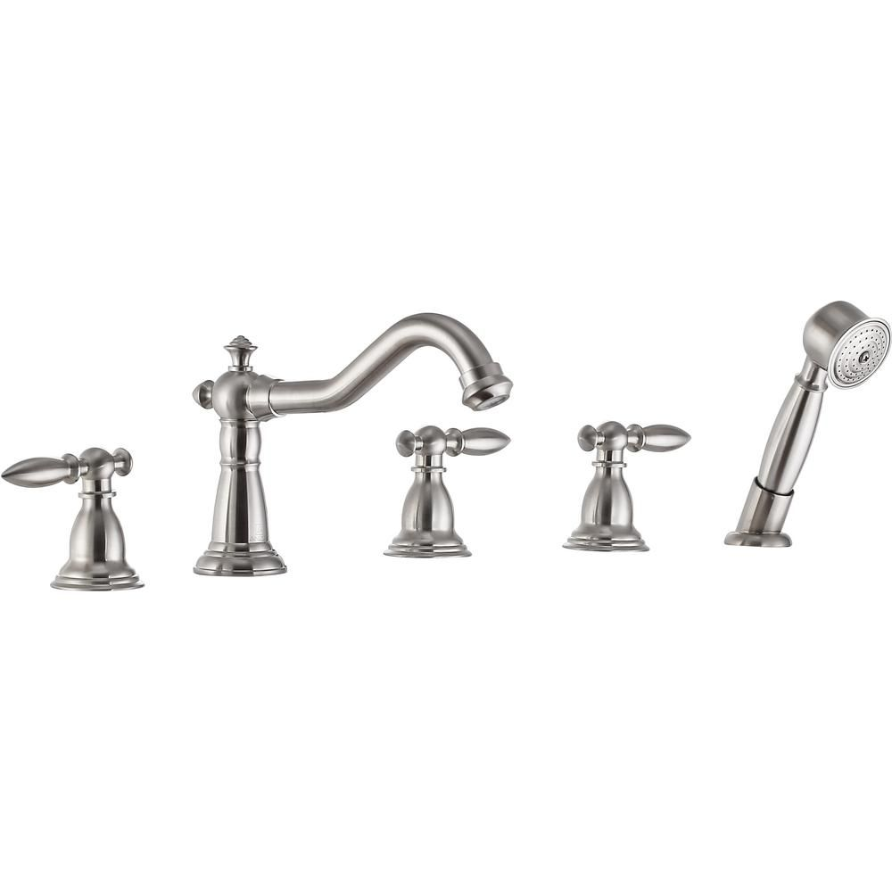 Anzzi Patriarch 2 Handle Deck Mount Roman Tub Faucet With Handheld