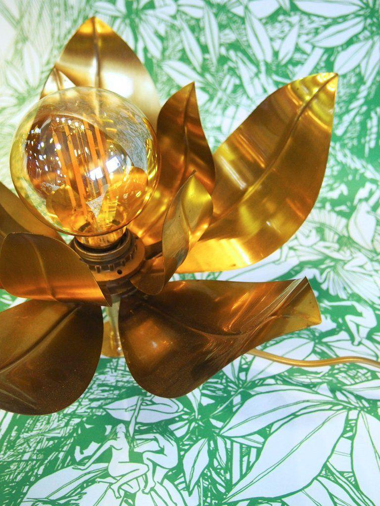 Lampe En Laiton Fleur Tropicale Vintage Deco Maison Pinterest