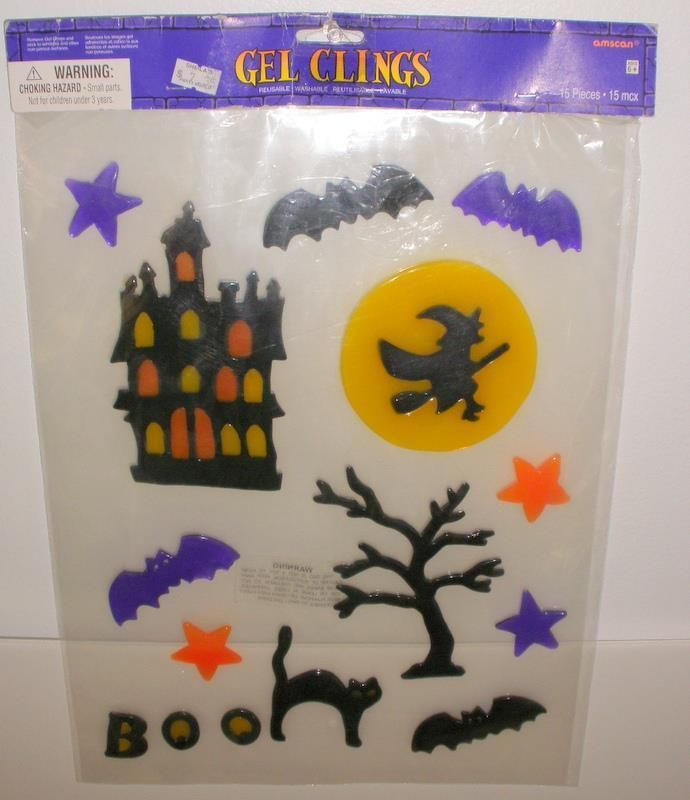 Amscan Package Of 15 Reusable Washable Halloween Gel Window Clings - halloween window clings