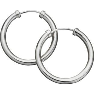 9ct White Gold Ced Hoop Earrings 18mm At Argos Co Uk