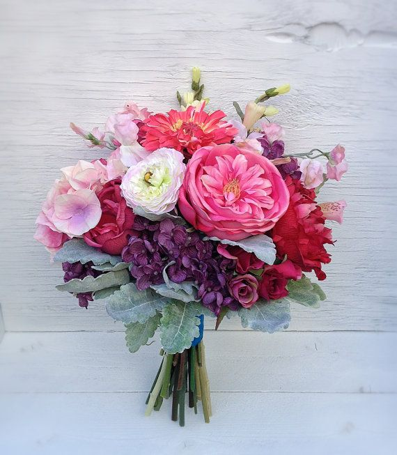 Romantic Silk Wedding Bouquet Of Roses, Ranunculus, Sweet Pea, Peony, Dusty  Miller