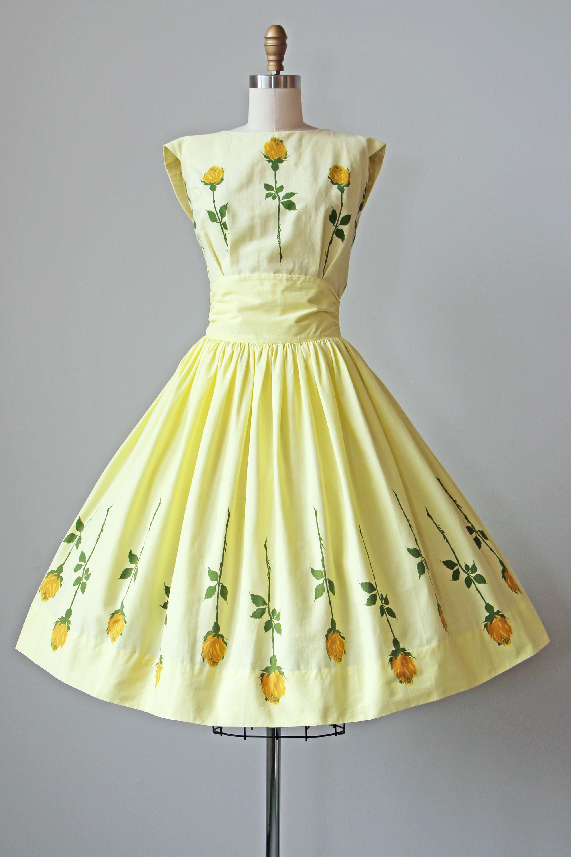 50s Dress Vintage 1950s Dress Yellow Cotton Rose Print Etsy Dresses Rose Print Blouse Vintage Dresses 50s [ 3000 x 2000 Pixel ]