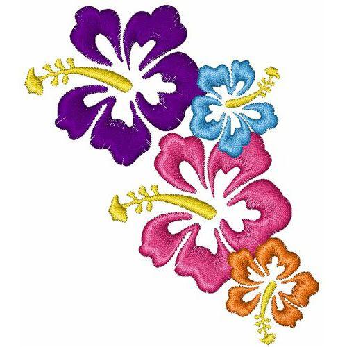 Hibiscus Flower Cluster 4x4 Grand Slam Designs Flower Machine Embroidery Designs Embroidery Flowers Flower Embroidery Designs