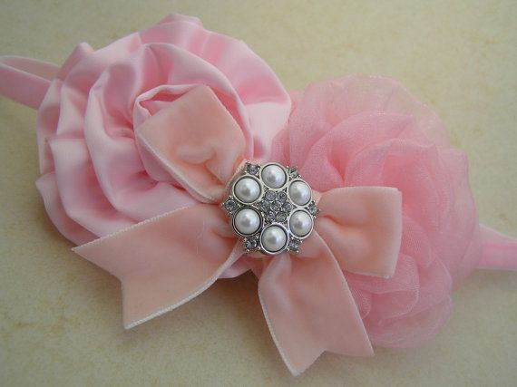 Floral Rose Vintage Style Baby Girl HeadbandIvory and Soft Elasticated Band