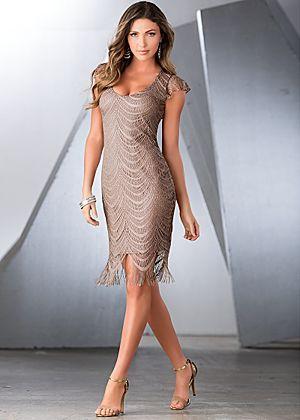 Metalilic crochet dress