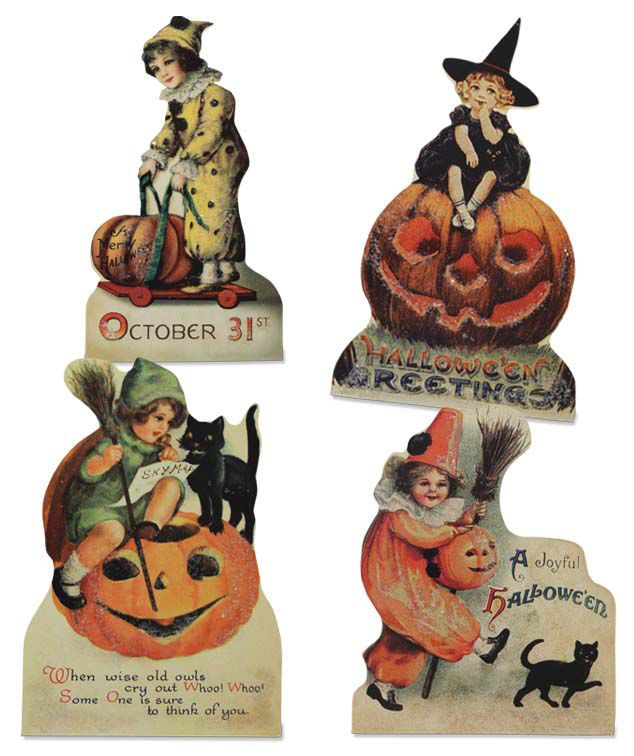 Set of 4 Retro Bethany Lowe Halloween Child Girl Boy Pumpkin Wood - lowes halloween