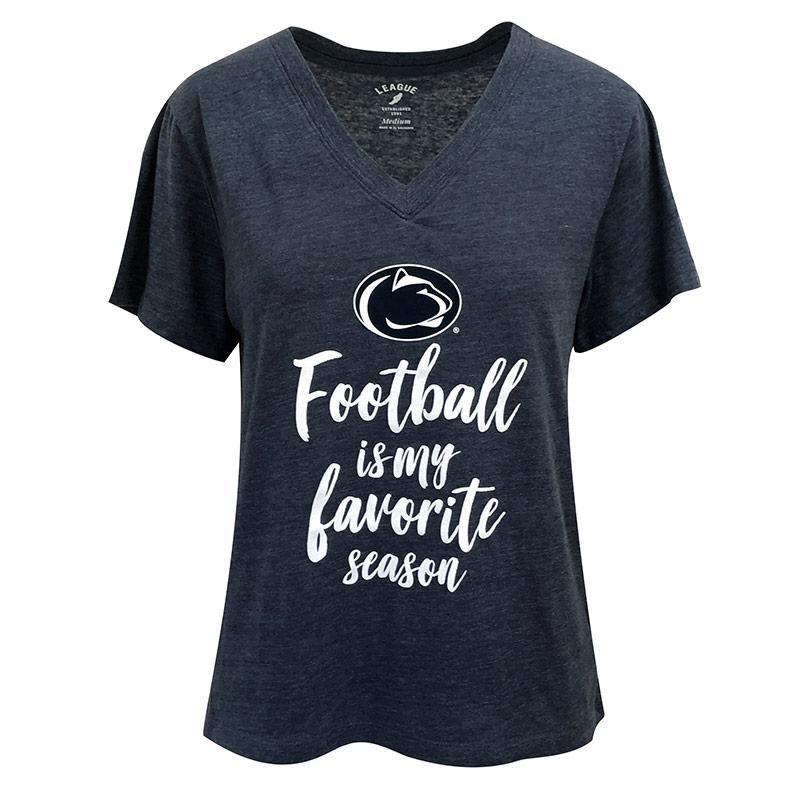 League Ladies PSU Football V-Neck T-Shirt – Navy / L