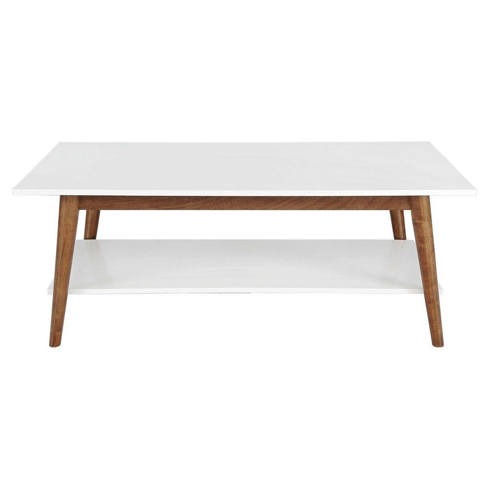 Porter Mid Century Modern Two Tone Coffee Table White Brown Mid