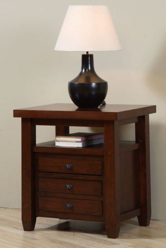 Marvelous Navigator Walnut Cherry End Table. This Beautiful Living Room Furniture  Features 3 Drawers And Shelf
