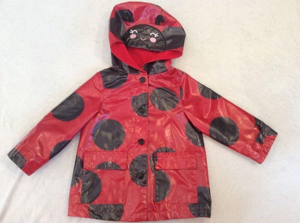 58d61978066a3 Carters 3T Raincoat Ladybug Girls Red Hooded Lined Rain Coat Jacket  #Carters #Raincoat