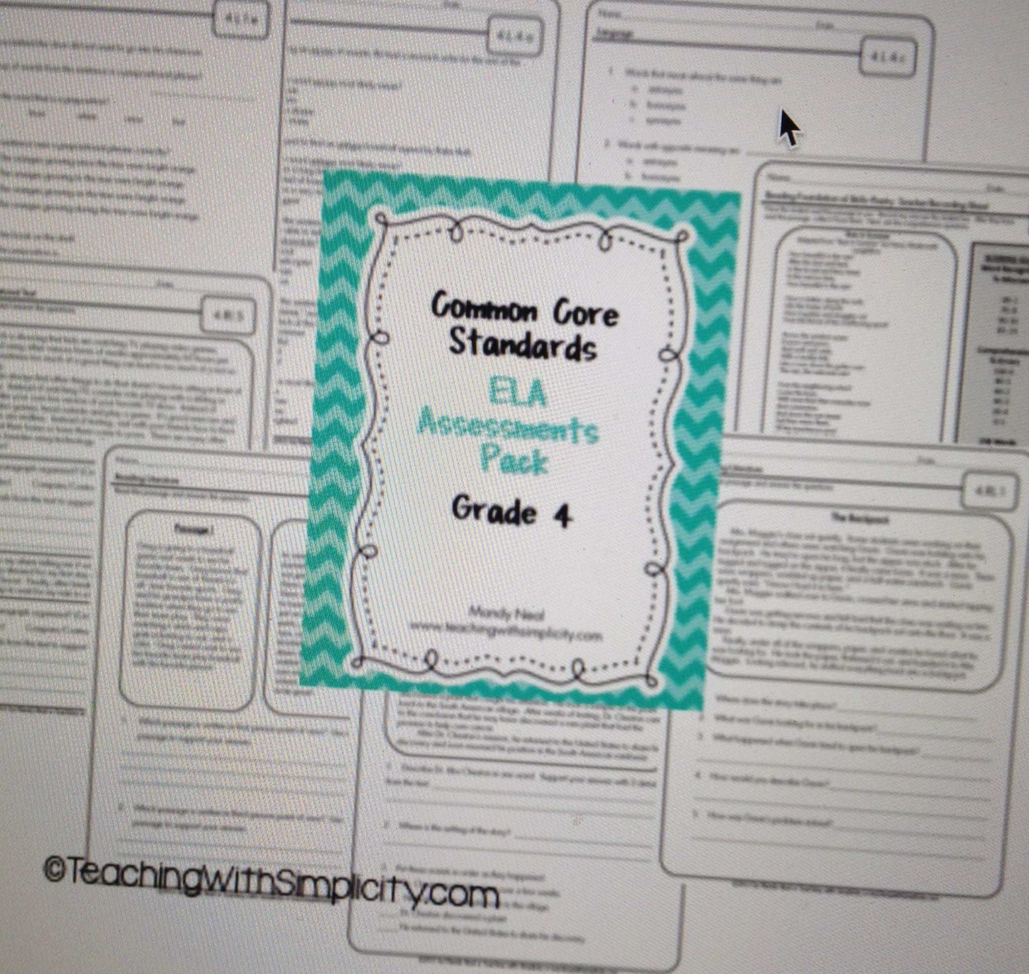 Common Core Assessment Pack Ela Grade 4
