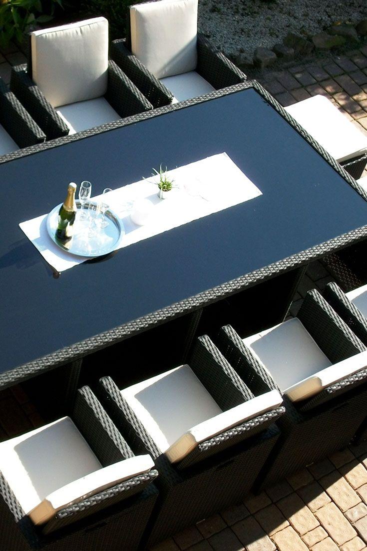 Toscana XXL schwarz (8 Sessel 4 Hocker 1 Tisch)   Haus