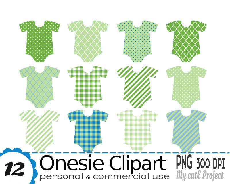 Body Bébé Clipart - Baby Shower clipart - Vert et Bleu - 12 fichiers ...