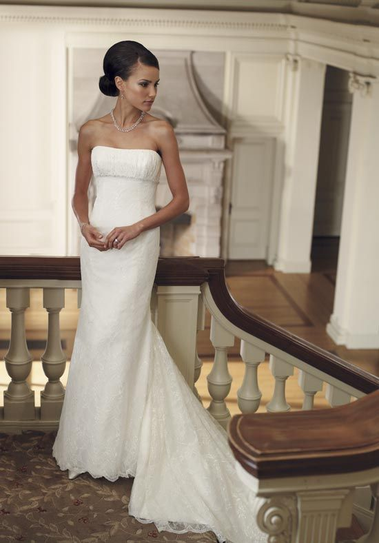 Demure Column Lace Satin Strapless Chapel Train Wedding Gowns Under 200