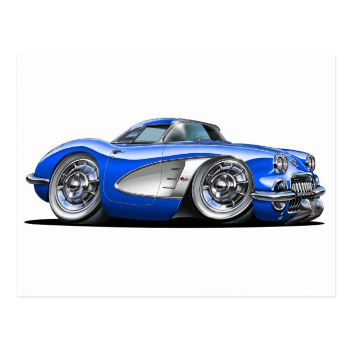 Corvette Blue Car Postcard | Zazzle.com