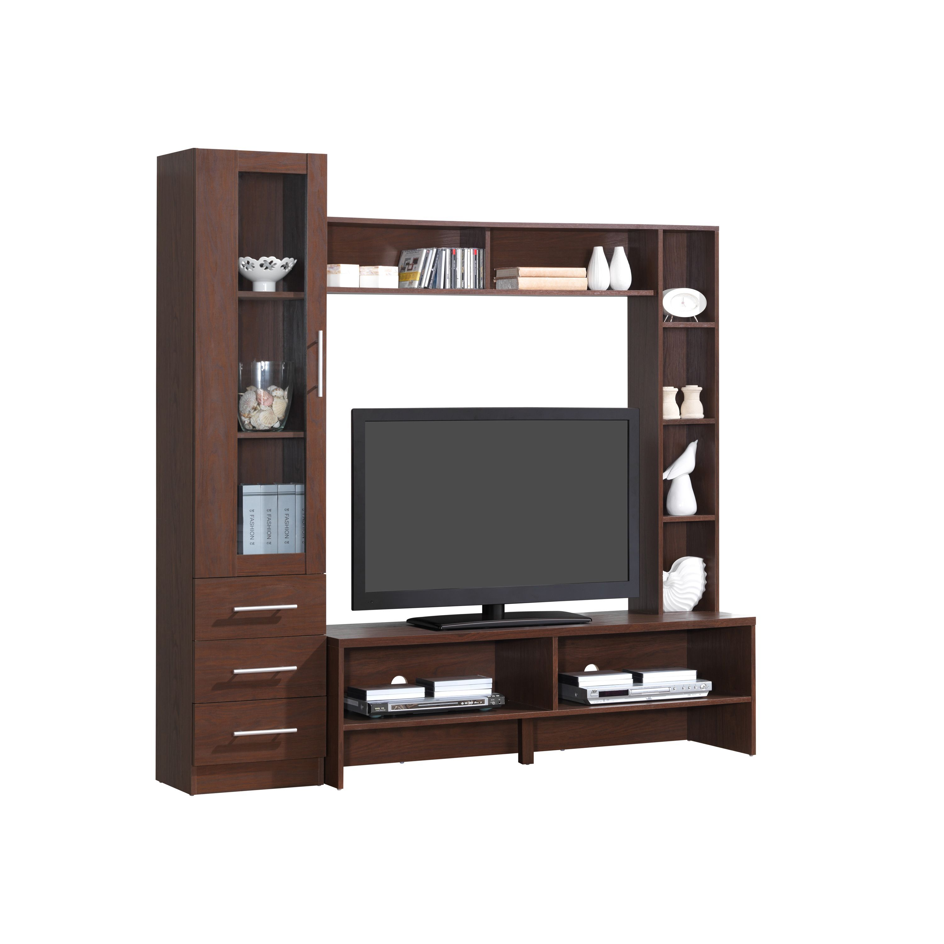Enterprises Modern Designs Brown Wood 50 Inch Tv Open Storage Entertainment Center Hickory