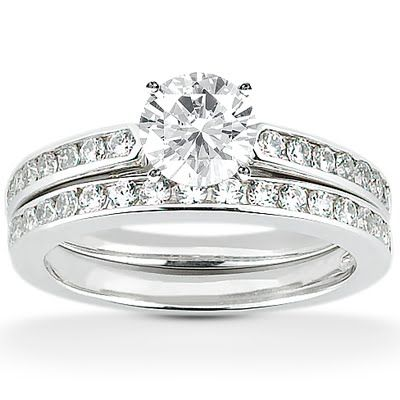 Loucri Jewelers - Engagement Ring Sets: Less is more! (Model LCENS1732-A with Matching Wedding Band LCENS1732-B)