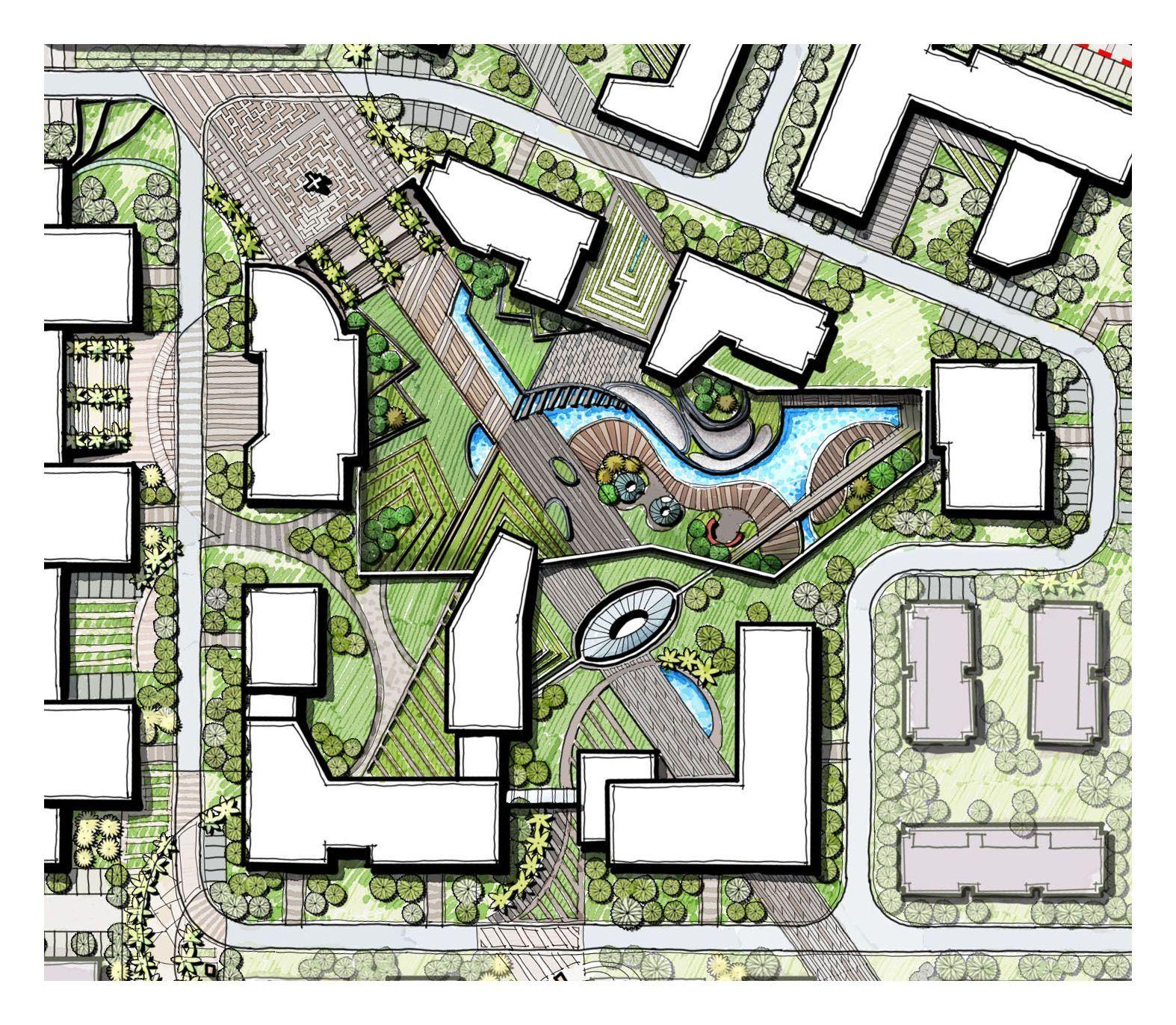 Linear Landscape Design Modern Landscape Sunken Garden