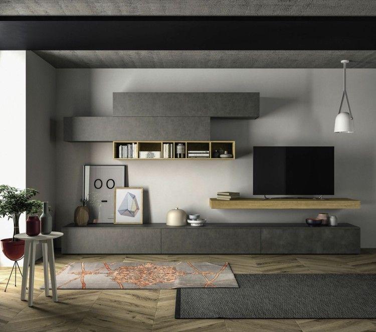 Wohnwand im wohnzimmer graues design aus der slim - Wohnwande exklusiv ...